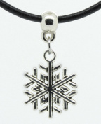 Silver snowflake snow flake ice winter cold freeze frozen Premium quality leather choker / necklace