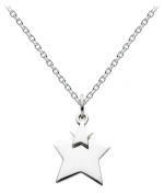 Dew Womens Sterling Silver Hanging Double Star Necklace 9823HP, 46cm