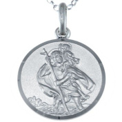 """Reversible Sterling Silver St Christopher Pendant with 18"""" Chain & Gift Box - 18mm"""