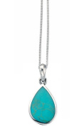 Elements Sterling Silver Ladies Turquoise Teardrop Pendant of Length 41-46cm