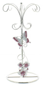 Pink Floral Glass Jewellery Tower with Stainless Steel Frame by Haysom Interiors