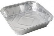 "50 LARGE ALUMINIUM FOIL FOOD CONTAINERS TRAYS 23cm x 23cm x 2"" with Lids"