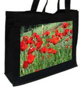 Poppies Flower, Poppy, Cotton shopping bag Black