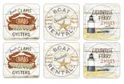 Pimpernel 40.1 x 29.8 cm MDF with Cork Back Coastal Signs Coasters, Set of 6, Multi-Colour