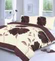 Off White & Chocolate Brown Double Duvet Quilt Cover Bedding Bed Set Floral