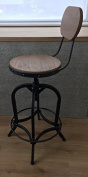 Bar Stool with back rest - Urban Vintage Retro Adjustable (68 - 83cm) Industrial Real Wood seat