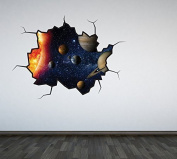 Full Colour Solar System Cracked Wall Sticker Decal Boys Bedroom Outer Space Universe Planets Playroom Galaxy