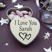 I Love You Sarah Mini Heart Tin Gift For I Heart Sarah With Chocolates. Silver Heart Tin. Fits Beautifully in the Palm of Your Hand. Great as a Birthday Present or Just as a Special Gift to Show Somebody How Much You Love Them.