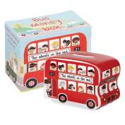 Little Rhymes 5.5 cm x 9.5 cm Fine China, Wheels on the Bus Money Box, Multi-Colour