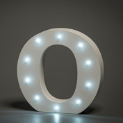 Up in Lights Decorative LED Alphabet White Wooden Letters - Letter O