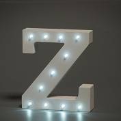 Up in Lights Decorative LED Alphabet White Wooden Letters - Letter Z