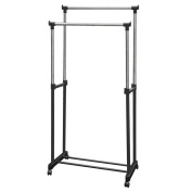 DOUBLE CLOTHES RAIL PORTABLE HANGING GARMENT ON WHEELS WITH SHOE RACK SHELF