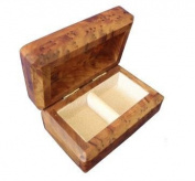 Small Handmade Cedar Wooden Hinged Cufflink Earring Organiser Jewellery Trinket Box 2 Compartments Cream Velvet Lined