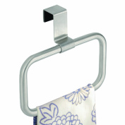 InterDesign Forma Over the Cabinet Kitchen Dish Towel Swing Loop Storage Hook, Brushed Stainless