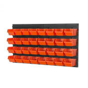 Storage bins with wall mounted panel - 32 orange bins, more combinations available
