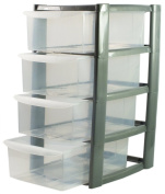 Silver Mini Tower Unit Storage 4 Tier Drawer/ Draws for Office, School & Garage