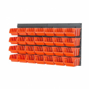 Storage bins with wall mounted panel - 28 small orange bins, 2 colours available