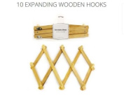Expanding Expandable Wooden 10 Hooks Pegs Wallmount Coat Hat Cloth Storage Rack