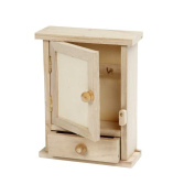Creativ 1-Piece Wooden Key Cabinet with Metal Key Hooks and Small Drawer