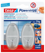 tesa 58050 Powerstrips Large Hooks, Oval Chrome, Self Adhesive and Removable