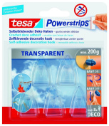 tesa 58900 Powerstrips Deco Clear Hooks, Self Adhesive and Removable