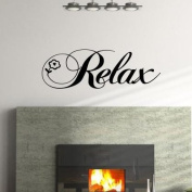 Sticker Bay Relax Wall Quote Sticker Decal Art - Black