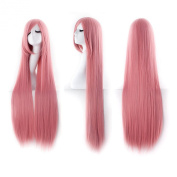 "MapofBeauty 40"" 100cm Pink Long Straight Cosplay Costume Wig Fashion Party Wig"