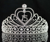 JANEFASHIONS Quinceanera 15 Fifthteen Birthday Rhiestone Tiara Crown with Hair Combs T1756