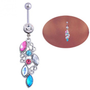 coromose® 1PC Mixed Colour Rhinestone Jewellery Navel Body Piercing Belly Button Rings