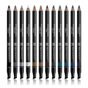 SHANY Slim Eye Liner Pencil Set with Vitamin E and Aloe Vera - 12 Shades - With Storage