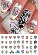 Sugar Skull Nail Art Day of the Dead Decals Assortment #2 - Featured in Rachael Ray Magazine October 2014!