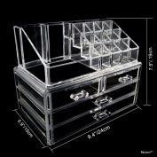 BerucciTM Clear Acrylic Jewellery Makeup Cosmetic Organiser Holder Storage - Two Piece Set with Four Bottom Drawers and Round Top Design