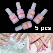 Vktech 5 x 10g Pink Nail Fast Drying Beauty False Art Decorate Tips Acrylic Glue