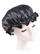 Moolecole Women's Polka Dots Waterproof Double Layer Shower Cap Elastic Band Bathing Cap Spa Shower Hat Dark Blue
