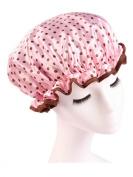 Moolecole Women's Polka Dots Waterproof Double Layer Shower Cap Elastic Band Bathing Cap Spa Shower Hat Pink
