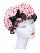 Moolecole Fashion Women's Bow-knot Waterproof Double Layer Shower Cap Polka Dots Bathing Cap Spa Shower Hat Pink