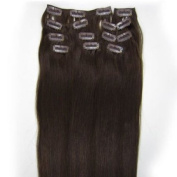 46cm Clip in Human Hair Extensions, 10pcs, 100g, Colour #02(dark Brown)