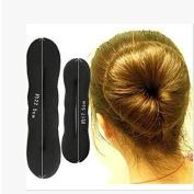LKE 2pcs Classy Black Round Hairdressing Tool Hair Former Donut Doughnut Ring Styling Mesh Chignon Bun Maker