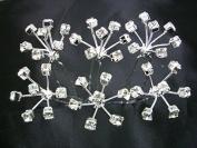 6 Pcs Starburst Baby's Breath Bridal Wedding Prom Crystal Hair Pins H2110