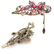 Dealzip Inc® Chariming Retro Jewellery Crystal Rhinestone Rose Red Butterfly Hairpins Hair Clips Hair Beauty Tools