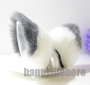 Cat Fox Ears Kitty Costume Halloween Cosplay Fancy Dress grey with white Kits