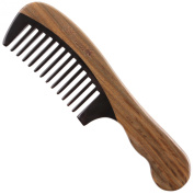 Breezelike No Static Black Buffalo Horn Wide Tooth Comb with Wavy Green Sandalwood Handle