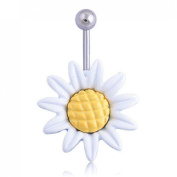 coromose® 1PC Sunflower Flower Surgical Steel Belly Button Ring Navel Piercing Body