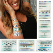 8 Styles & 8 Sheets Pack, Metallic Removable Waterproof Temporary Flash Tattoo Pattern & Golden Bling Glitter Tattoo Stickers Body Art Sex Products for Girls and Guys, etc.