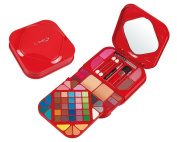 Cameo Cosmetics 59pc Make Up Kit Set with Purse Size Red Plastic Compact - Eyeshadows, Blushers, Press Powders, Lip Colours, Mascara, Eye Pencil, Applicators