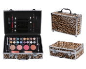 Cameo Cosmetics Premium 51pc Beauty Case Make Up Set with Reusable Aluminium Leopard Case - Eyeshadows, Lipsticks, Blushers, Lip Glosses, Brushes, Mirror Box, Applicators, Pencils