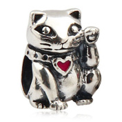 YMXING with Red Heart 925 Sterling Silver Lucky Cat Charm Bead 1 PCS