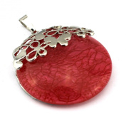 PendantScarf Fashion Round Resin Flower Jewellery Necklace Pendant Red