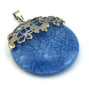 PendantScarf Fashion Round Resin Flower Jewellery Necklace Pendant Blue