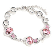 Beautiful Bead Multi Clownfish Shaped Crystal Inserted Chain Charm Bracelet with Lobster Claw Clasp Silver and Rose Red